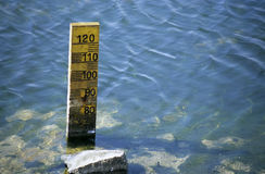 Measuring Water Levels. Measuring the very low water levels of the camargue, France stock image