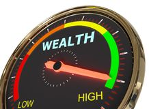 Measuring wealth level. Speedometer Measuring wealth level on high green , 3d rendered on white background Royalty Free Stock Images