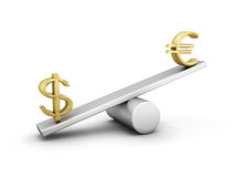 Measuring the weight of the euro and the dollar. Euro and dollar on a swing  on white background. Measuring the weight of the euro and the dollar Royalty Free Stock Photo