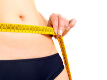 Measuring a woman's abdomen Stock Images