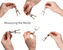 Measuring the World. Six hands, measure by compass, isolated on white Royalty Free Stock Photography
