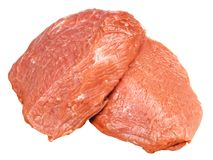 Meat. Piece of fresh meat on white background Royalty Free Stock Images