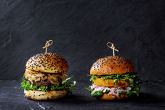 Free Meat And Veggie Burgers Stock Photography - 70389112