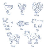 Meat animals cartoon set Royalty Free Stock Photos