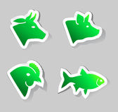 Meat animals icons Royalty Free Stock Photos