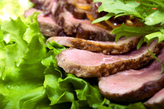 Meat appetizer. Appetizer made of meat delicacies and salad stock photos