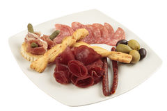 Meat appetizer assortment Royalty Free Stock Photos
