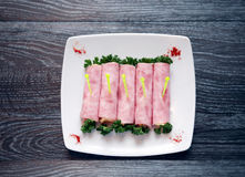 Meat Appetizer On Plate Stock Photos