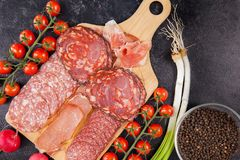 Meat appetizers next to tomatoes, radish and green onion. Meat appetizers next to cherry tomatoes, radish and green onion Stock Images