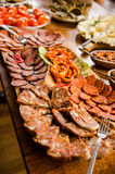 Meat and appetizers platter Stock Photos