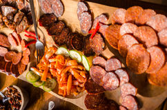 Meat and appetizers platter Royalty Free Stock Images