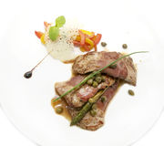 Meat with asparagus Stock Image
