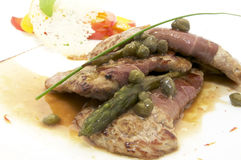 Meat with asparagus Royalty Free Stock Photos