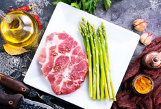 Meat with asparagus Royalty Free Stock Photography