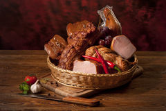 Meat assortment. Composition of different sorts of meat on the table Royalty Free Stock Images