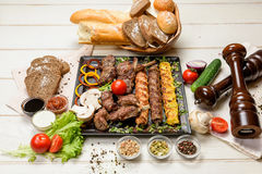 Meat assortment on a pan Stock Photo