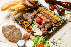 Meat assortment on a pan Royalty Free Stock Images