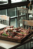Meat assortment at a spacing in the restaurant. Royalty Free Stock Image