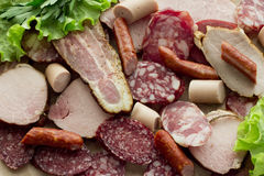Meat background. A lot of different kind of meat on top Royalty Free Stock Photo