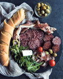 Meat and baguette bread Stock Photos