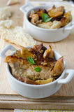 Meat baked with garlic Stock Photos