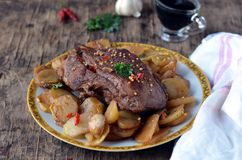 Meat baked with potatoes Royalty Free Stock Photos