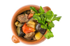 Meat baked with vegetables Stock Photography