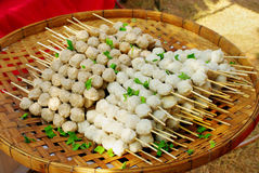 Meat ball in bamboo tray Royalty Free Stock Images