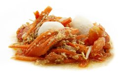Meat ball with carrot and tomato Royalty Free Stock Images