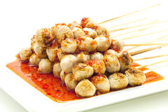 Meat ball chili sauce Royalty Free Stock Images