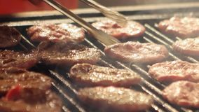 Meat ball grill in Bursa - Turkey. Ultra HD 4K Closeup, detail of meat ball grill, barbecue bbq, grilled food of beef cook outdoor, picnic party in traditional stock video