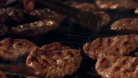 Meat ball grill in Bursa - Turkey. Ultra HD 4K Closeup, detail of meat ball grill, barbecue bbq, grilled food of beef cook outdoor, picnic party in traditional stock footage