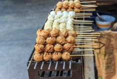 Meat Ball, Grill Thai style. On hot Stove Royalty Free Stock Images