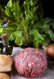Meat ball, onion, herbs, olive oil and bread on a table. Ingredi Royalty Free Stock Photo