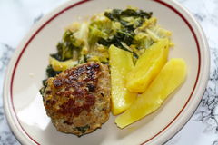Meat ball with potatoes, savoy cabbage. Hot food: Boiled potatoes, savoy cabbage vegetables and meat ball of pork mince and minced beef Stock Images