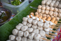 Meat ball for sale at street food market Stock Photos