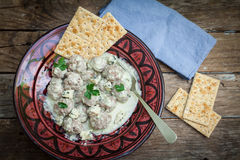 Meat ball on sauce Royalty Free Stock Photography