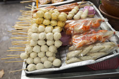 Meat ball and sausage with bamboo stick Royalty Free Stock Image