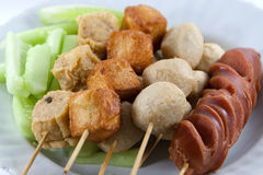 Meat Ball and sausage fried Stock Images
