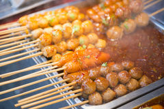 Meat ball and sausage with spicy food Thai Food Stock Photo