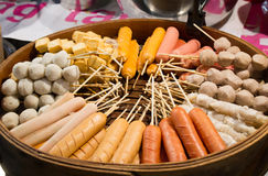 Meat ball and sausages royalty free stock image
