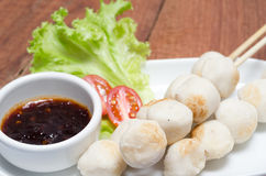 Meat ball with spicy dipping sauce Royalty Free Stock Photography