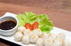 Meat ball with spicy dipping sauce Stock Photos