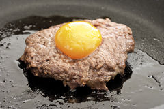 Meat ball with yolk on top, frying Stock Images