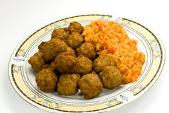 Meat - balls of beef and pork - with risotto Royalty Free Stock Photo
