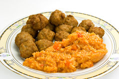 Meat - balls of beef and pork - with risotto Royalty Free Stock Images