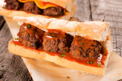 Meat balls in bread Royalty Free Stock Image