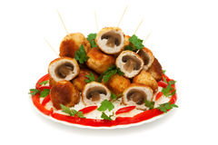 Meat balls chicken fillet stuffed with mushrooms Stock Photos