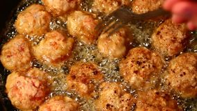 Meat balls cooking stock video footage