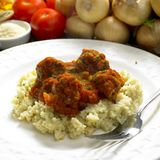 Meat balls with couscous royalty free stock photos